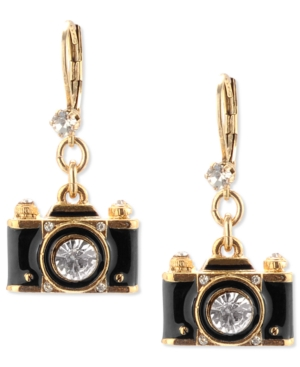 Betsey Johnson Gold-Tone Black Camera Crystal Drop Earrings