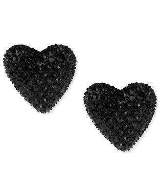 Betsey Johnson Black Heart Stud Earrings Fashion Jewelry Watches Macy S