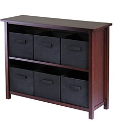 Verona 2-Section W Storage Shelf with 6 Foldable Black Fabric Baskets