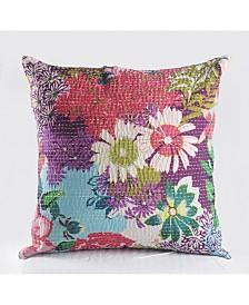 Floral Garden Kantha Throw Pillow