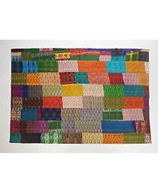 Traditional Patola Kantha Throw Blanket
