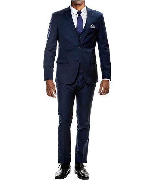 Sean Alexander Men's Stretch Ultra Slim Fit 3-Piece Solid Suit