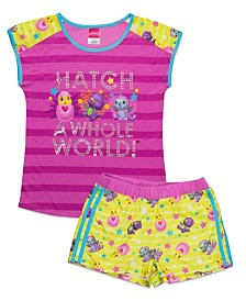 Hatchimal Little and Big Girls 2 Piece Short Pajama Set