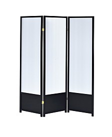 Troy 3-Panel Folding Floor Screen with Translucent Inserts