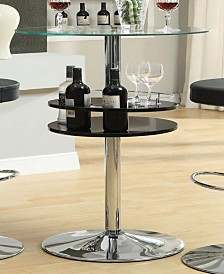 Blain Bar Table with Tempered Glass Top and Storage