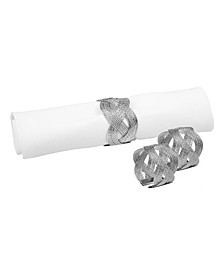 Set of 6 Silver Woven Napkin Rings