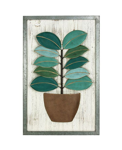 Astrid Green Metal Leaf Wood Wall Art