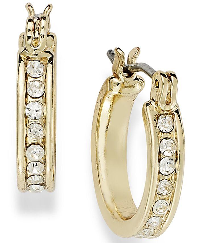 Charter Club - 14k Gold Plated Crystal Mini Hoop Earrings