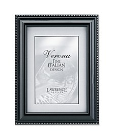 """Black Wood Picture Frame - Silver Bead Design - 8"""" x 10"""""""