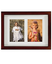 "Walnut Wood Double Matted Picture Frame - 4"" x 6"""