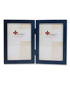 "Hinged Double Blue Wood Picture Frame - Gallery Collection - 4"" x 6"""