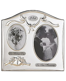 Lawrence Frames Satin Silver and Brass Plated 2 Opening Picture Frame - 25 th Anniversary Design
