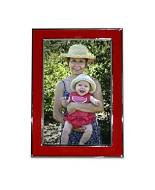 """Silver Plated Metal with Red Enamel Picture Frame - 4"""" x 6"""""""
