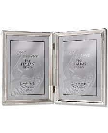 """Lawrence Frames Polished Silver Plate Hinged Double Picture Frame - Bead Border Design - 5"""" x 7"""""""