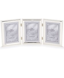 """Lawrence Frames 510745T Silver Plated Double Bead Hinged Triple Picture Frame - 4"""" x 5"""""""