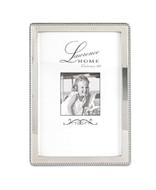 "Silver Metal Picture Frame with Delicate Outer Border Of Beads - 4"" x 6"""