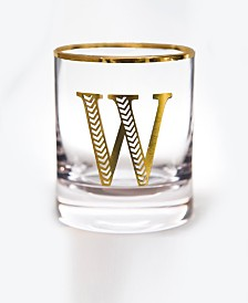 Qualia Glass Monogram Rim and Letter W Double Old Fashioned Glasses, Set Of 4