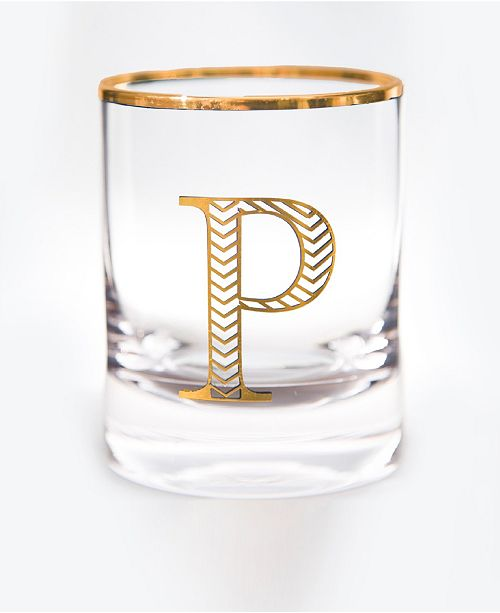 Qualia Glass Monogram Rim and Letter P Double Old Fashioned Glasses, Set Of 4