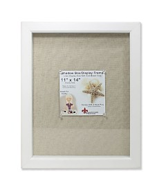 "Lawrence Frames White Shadow Box Frame - Linen Inner Display Board - 11"" x 14"""