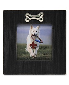 "Black Wash Dog Frame with Bone Ornament - 4"" x 4"""