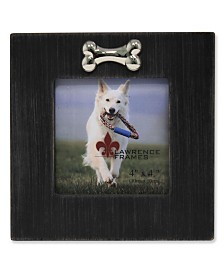 "Lawrence Frames Black Wash Dog Frame with Bone Ornament - 4"" x 4"""