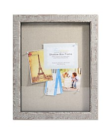 "Lawrence Frames Weathered Birch Shadow Box - Linen Display Area - 11"" x 14"""