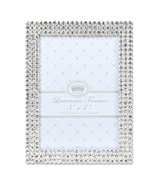"Juliet Silver Metal Frame with Crystals - 5"" x 7"""