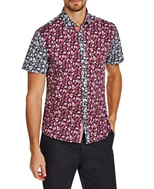 Tallia Men's Slim-Fit Stretch Floral Short Sleeve Shirt