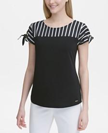 Calvin Klein Striped & Solid Tie-Sleeve Top