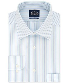 Eagle Men's Classic/Regular Fit Non-Iron Flex Collar Blue Stripe Dress Shirt
