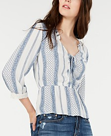 American Rag Juniors' Printed Crochet-Trim Top, Created for Macy's