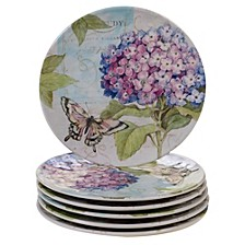 Hydrangea Garden Melamine 6-Pc. Salad Plate Set