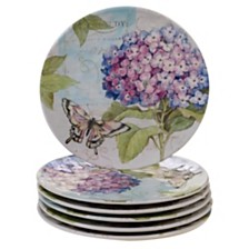 Certified International Hydrangea Garden Melamine 6-Pc. Salad Plate Set