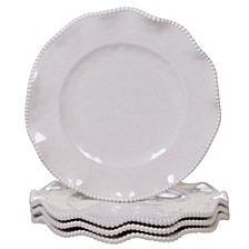 Perlette Cream Melamine 4-Pc. Dinner Plate Set