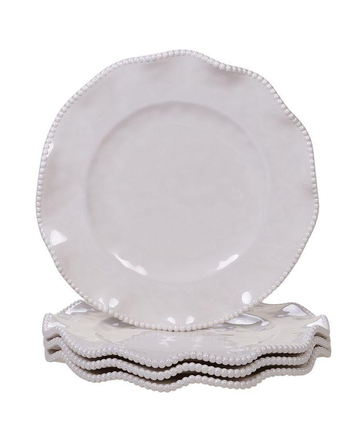 Certified International - Perlette Cream 4-Pc. Dinner Plate Set