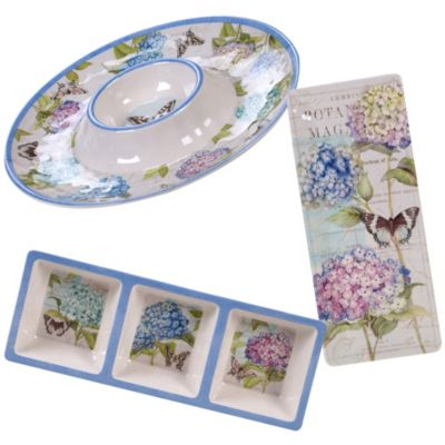 Hydrangea Garden Melamine 3-Pc. Hostess Set