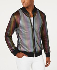 I.N.C. Men's Pride Rainbow Mesh Bomber Jacket, Created for Macy's