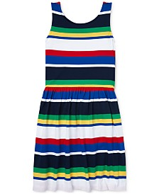 Polo Ralph Lauren Big Girls Striped Cotton Jersey Dress