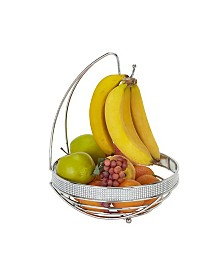 Kitchen Details Round Fruit Basket with Banana Tree in Pave Diamond Design