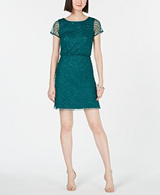 Hand-Beaded Blouson Sheath Dress