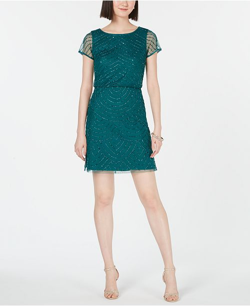 Adrianna Papell Hand-Beaded Blouson Sheath Dress