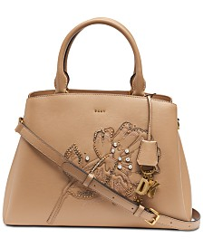 DKNY Paige Floral Leather Satchel, Created for Macy's