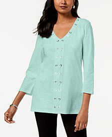 Petite Cotton Grommet-Laced Tunic, Created for Macy's