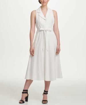 1960s Dresses | 60s Dresses Mod, Mini, Jackie O, Hippie Dkny A-line Linen Midi Shirt Dress $129.00 AT vintagedancer.com
