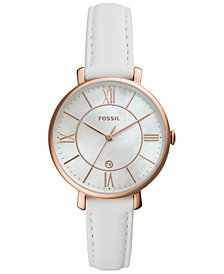 Women's Jacqueline White Leather Strap Watch 36mm