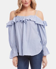 Karen Kane Cotton Striped Ruffled Top
