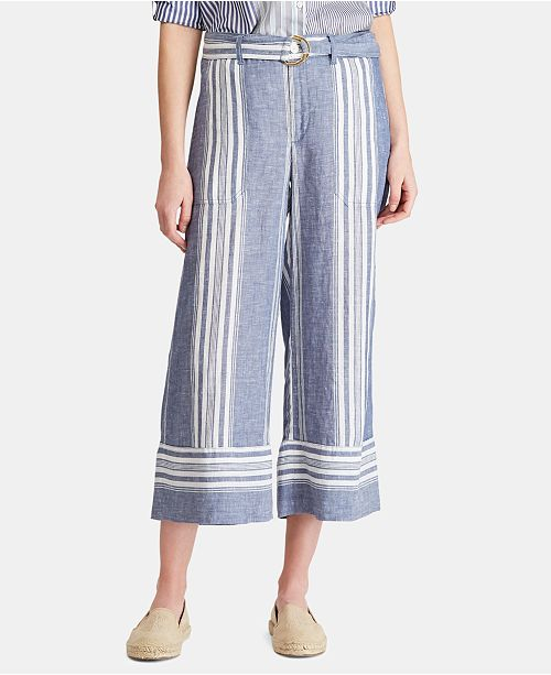 Lauren Ralph Lauren Striped Wide-Leg Linen Pants