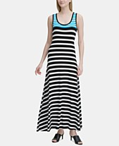 fcdaba1678e Calvin Klein Sleeveless Striped Maxi Dress