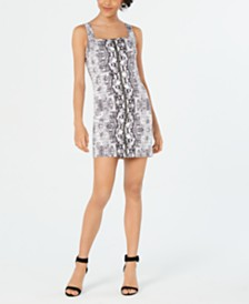 Bar III Snake-Embossed Bodycon Mini Dress, Created for Macy's