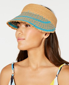 I.N.C. Printed Tweed Stripe Frayed Edge Visor, Created for Macy's